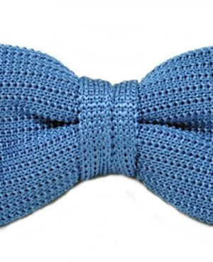 Fliege Strick 100% Seide Uni Blau 4265407-3