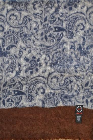 Schal 100% Kaschmir Ranken Blau-beige-braun 8180008-1