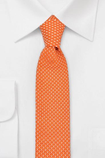 Strickkrawatte 100% Seide Tupfen Orange-weiss 638724-8