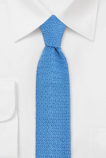 Strickkrawatte 100% Seide Uni Blau 631502-3